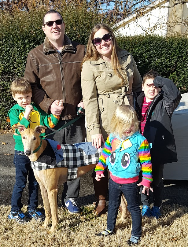 Evan and his family adopted Starz William, now called Wiley. Wiley will be a fun new member of the family with the children, the cat, and a small dog!