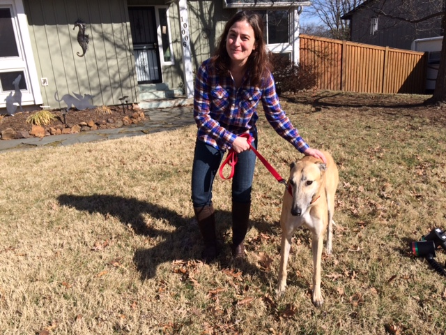 Brandi adopted Vader. He's a beautiful sweet fawn male who instantly was enjoying many pets and some treats from Brandi. Besides enjoying lounging around, he will be Brandi's new walking companion. Congratulations you two!