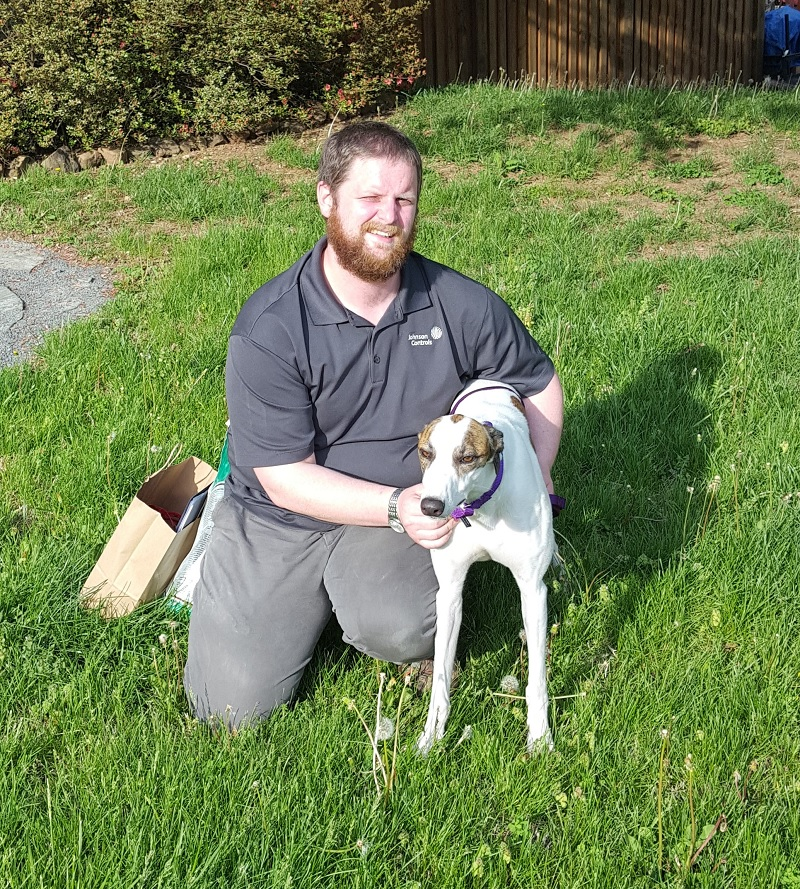 Ryan Williams now has his sweet little girl, Javonna. Javonna will enjoy lots of quiet time and walks around the area. She may even get to visit a cat once in awhile. Ryan has been waiting a long time to find his perfect Grey and now she is in her forever home!  Congratulations to Ryan and Javonna!