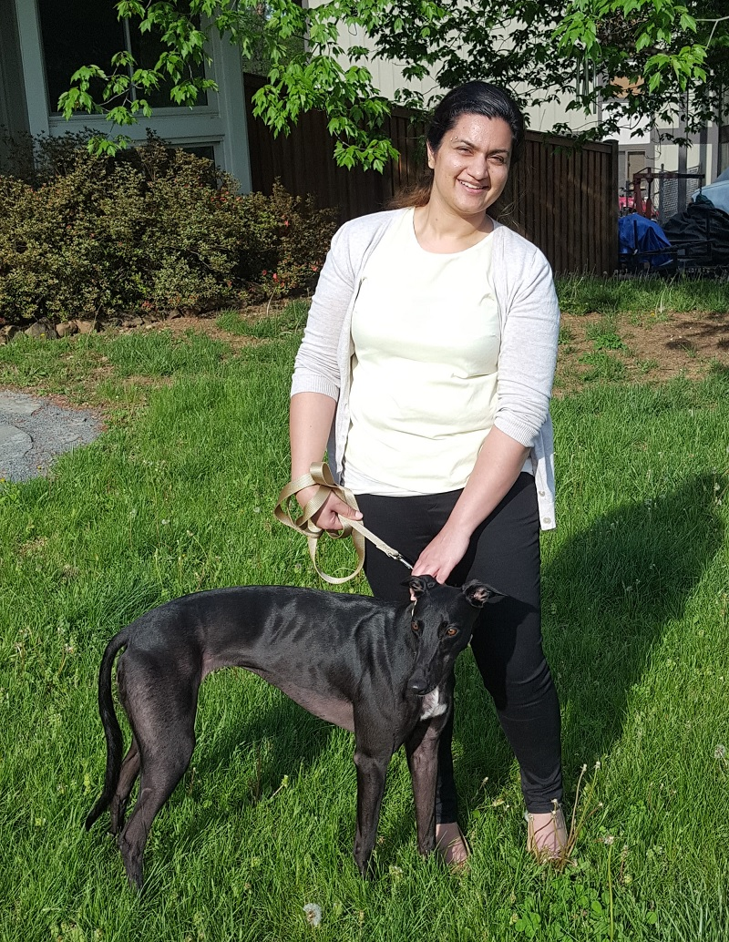 "Sonia has adopted a very sweet, ""puppy-like"" girl, called Dash. Dash loves to run and play! Sonia will be taking her to training class soon and spoiling her with new toys and treats.  Congratulations Sonia and Dash!"