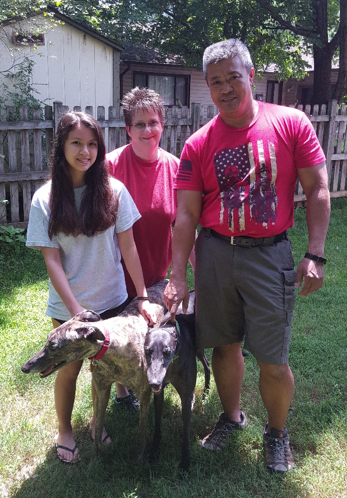 Diana, Karl, and Ashley are officially foster-fails. Cal ran right into their hearts and they never looked back. Congratulations Diana, Karl, Ashley, and Cal!