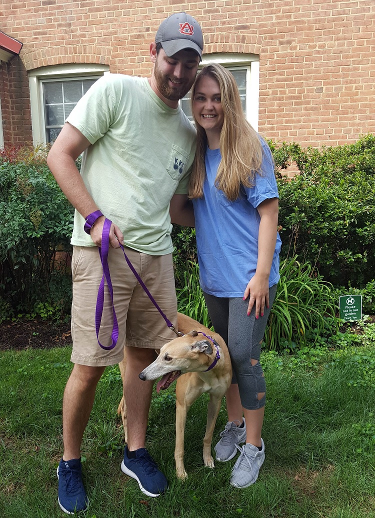 Katie and Cole adopted a sweet fawn female, Aimee. They are so excited to have her in the family and are looking forward to nice walks and relaxing at home with her! Congratulations Katie, Cole and Aimee!