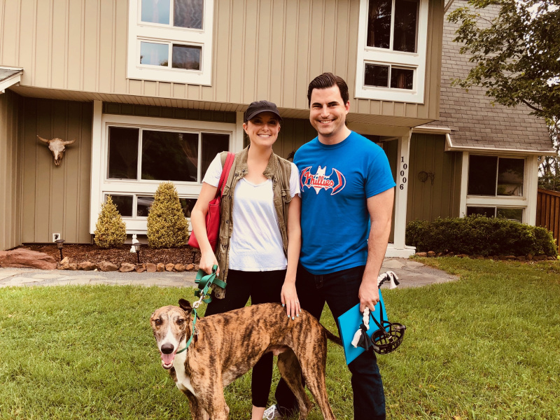 Kristen and Zach were so happy to meet their gorgeous brindle boy, Remy. Remy is very curious. From what we heard, Remy has already taken over their home and their hearts.
