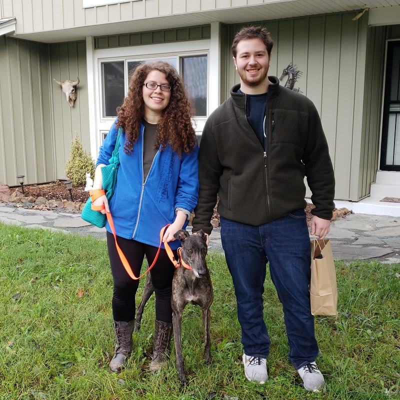 Cecile and her brother were so excited to meet her gorgeous boy, a black brindle, Clark, now called Hemingway (Hem for short). He's extremely curious and very affectionate, giving kisses on his 1st day! He will enjoy lots of space to explore in his new home and yard.  Congratulations to Cecile and Hem!