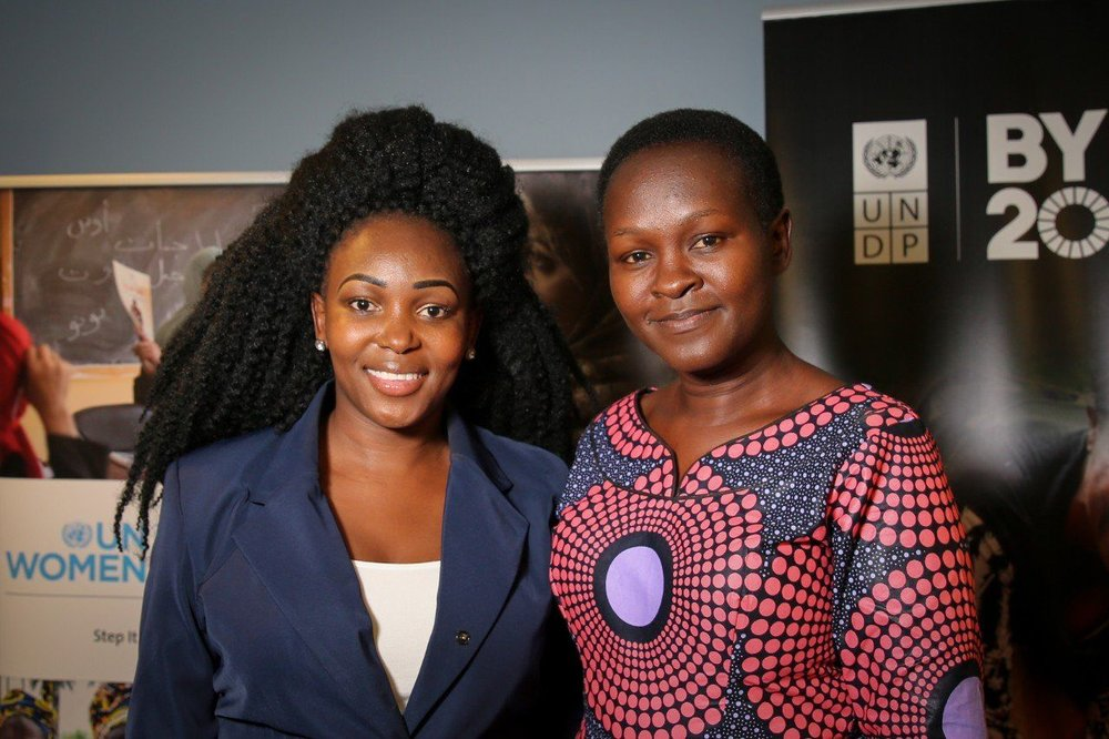 Charlot Magayi, owner of Mukuru Clean Stoves of Kenya, (seen on the left) and Lucy Odiwa, owner of WomenChoice Industries.
