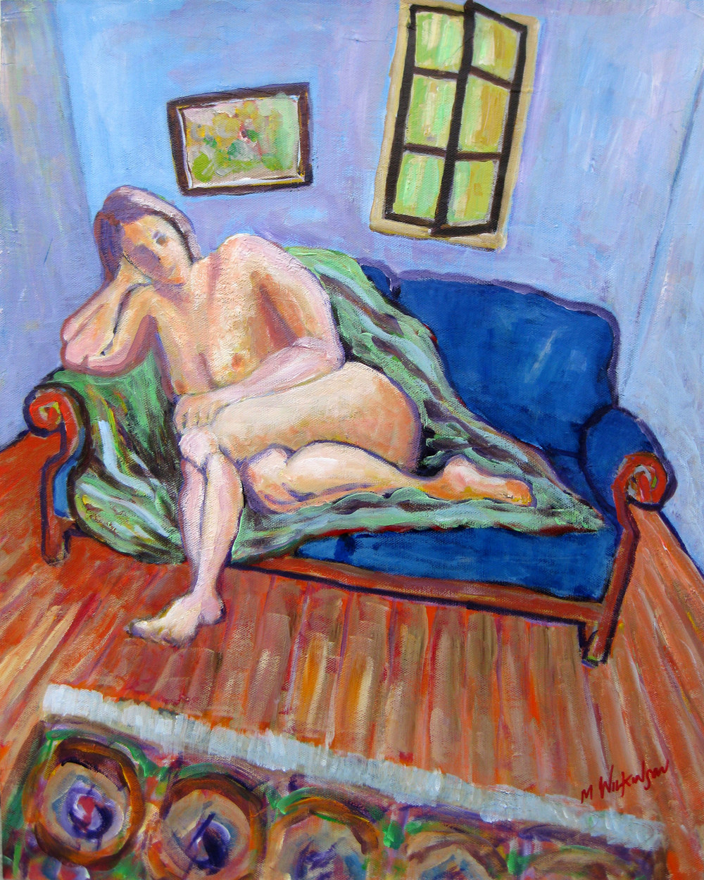 nude on blue sofa