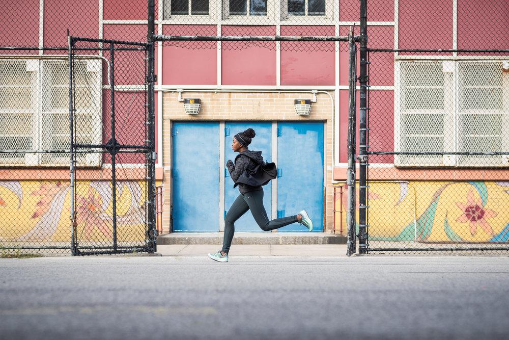 Nike Running Graffiti New York Everday PPL Ashley Barker Photography Joggers Yellow Blue Door