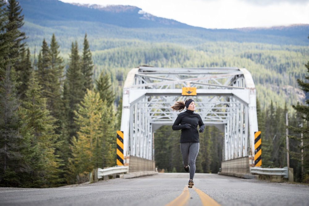 Ashley Barker LuluLemon Banff Bridge Photography Running Evergreens Road Canmore