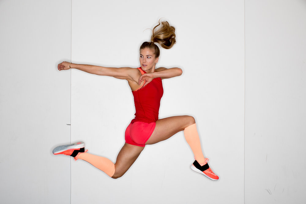 Ashley Barker Photographer Ring Flash Nike Trainer Jumping Knee Highs Colorful Talent Rebecca