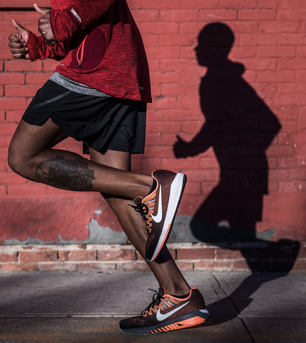 Ashley Barker Everyday PPL Nike New York Brick Wall Shadows Running Red Shoes Zoomed