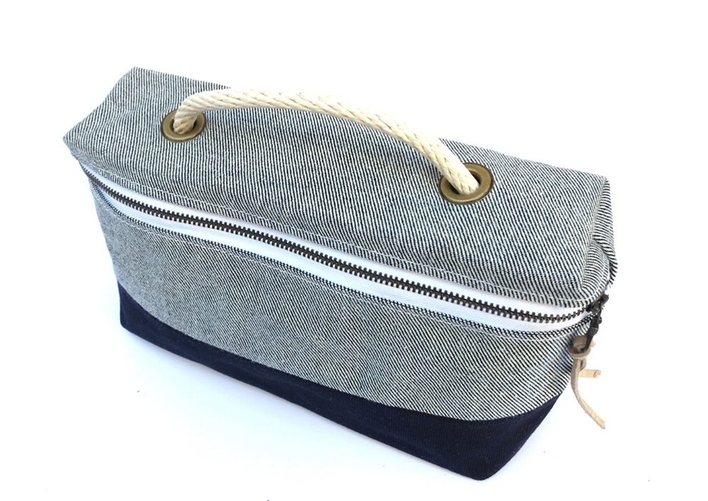 BITTLE AND BURLEY TOOL BAG; LITE BLUE DENIM / NAVY BLUE WATERPROOF CANVAS
