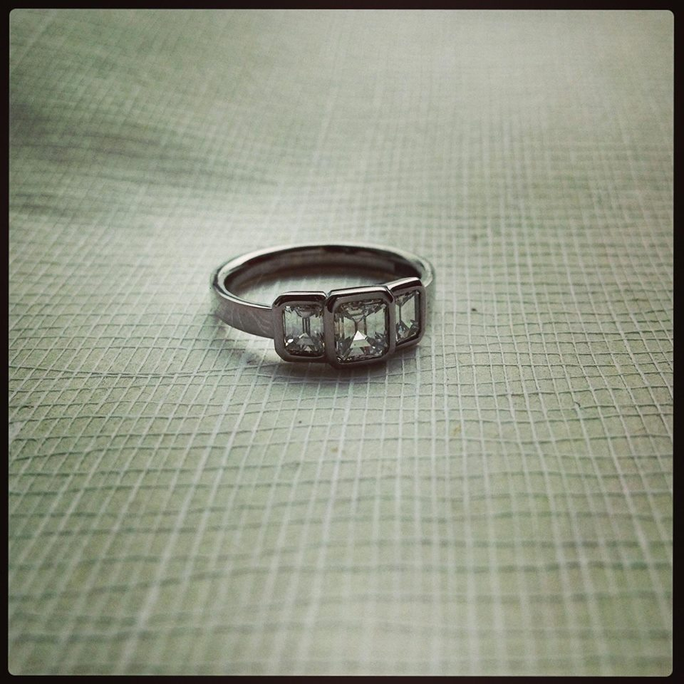 Art Deco Inspired 3 Diamond Ring