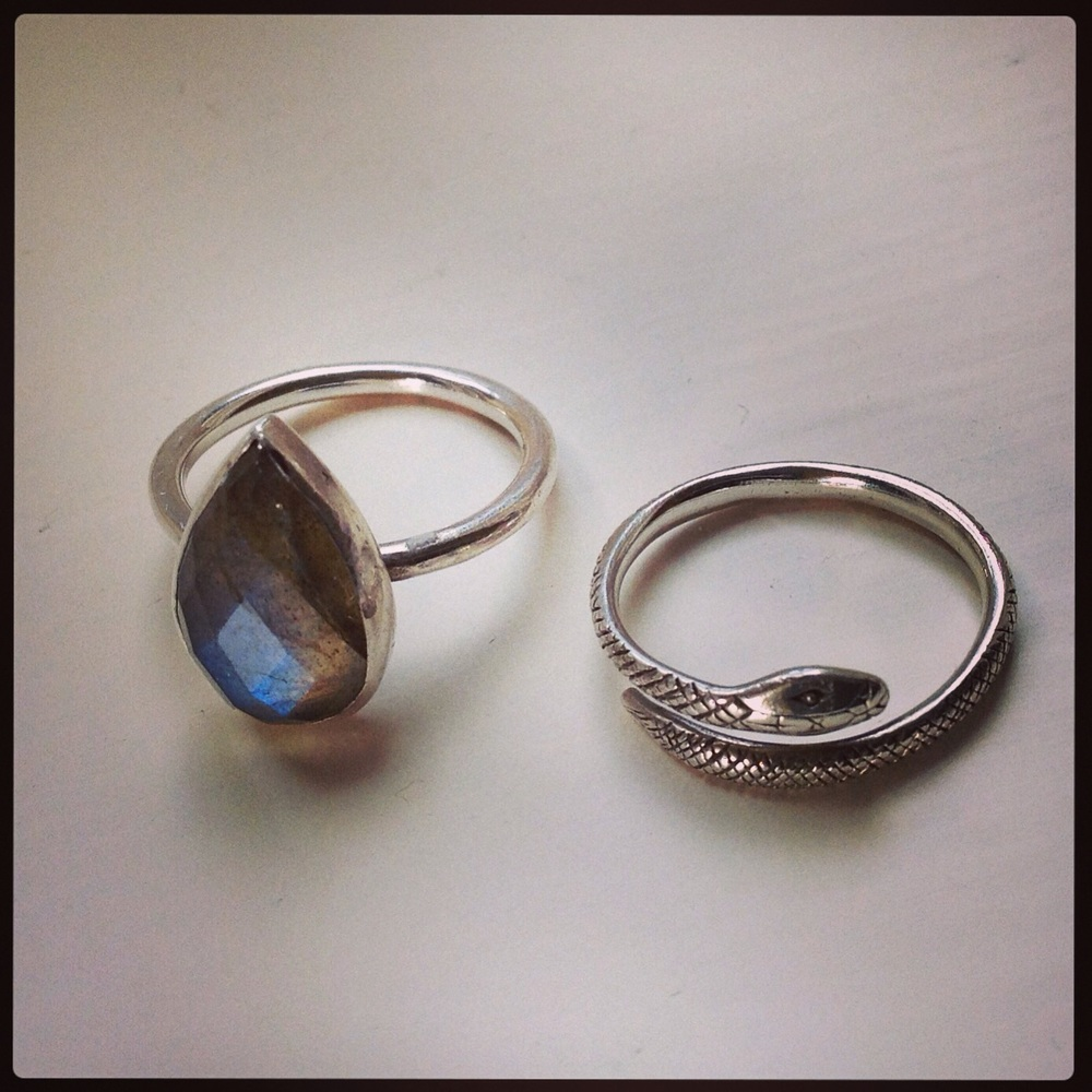 Sophia Hargreaves Jewellery, Polkis Laborodite ring (pictured left) and Snake ring (pictured right).