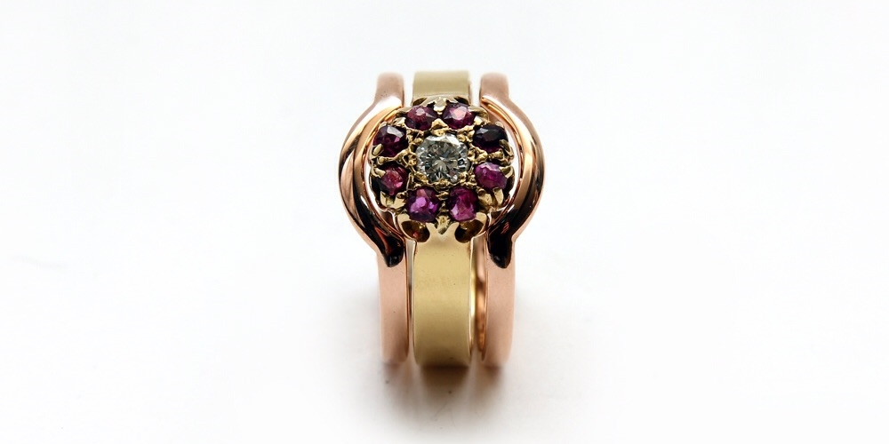 The finished piece, recycled, re-used and re-freshed gold Ruby and diamond rings.