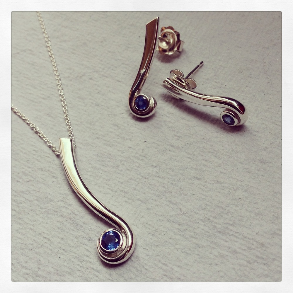 Silver and sapphire set