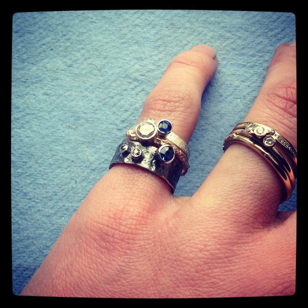 Recycled diamond and sapphire ring set