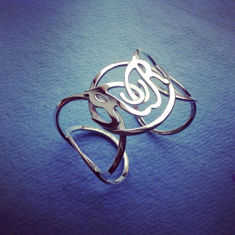 Silver initial cuff