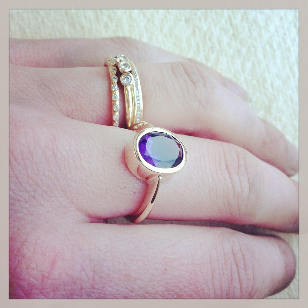 African amethyst gold ring
