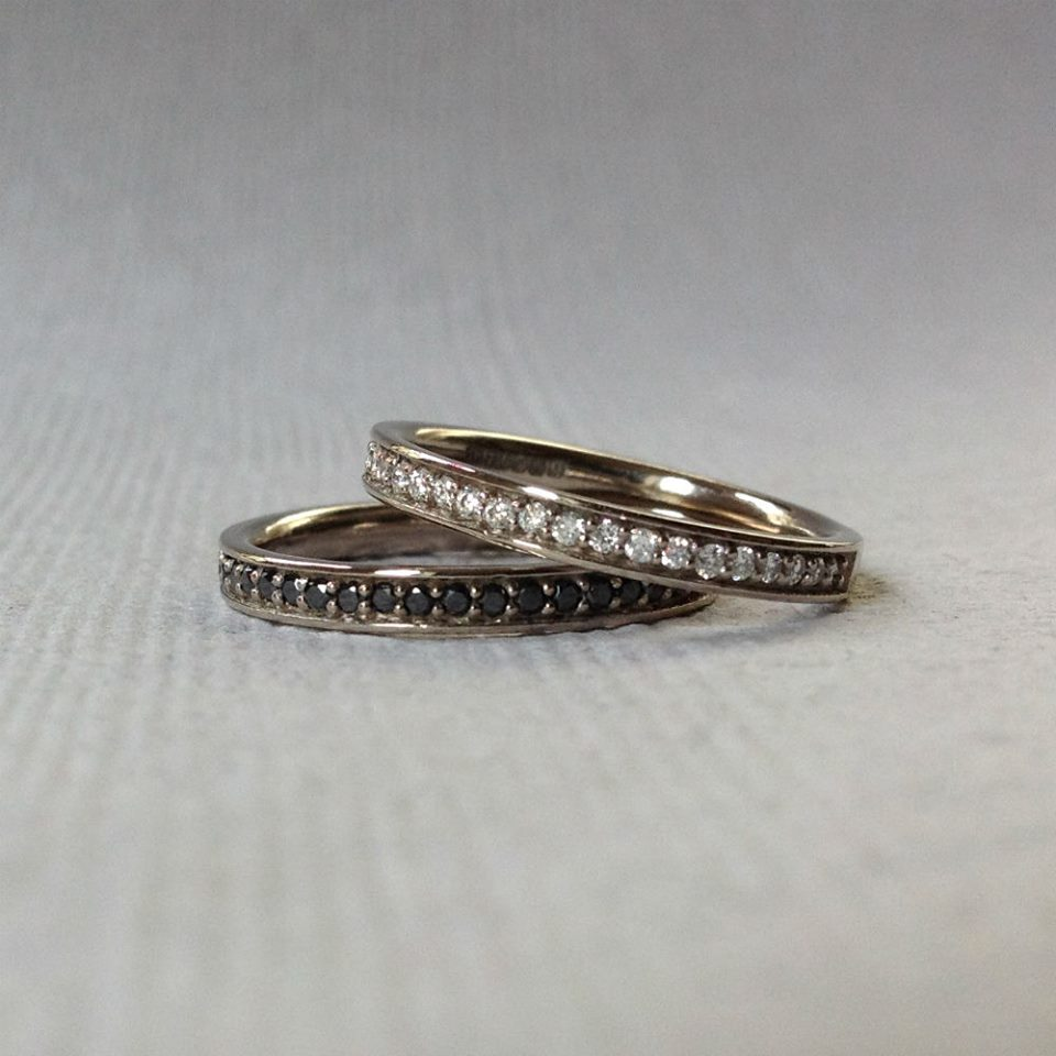 White gold and diamond 3/4 eternity rings