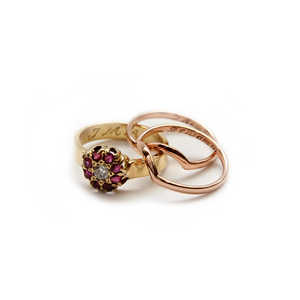 The result - Yellow and Rose Gold Trio Ring