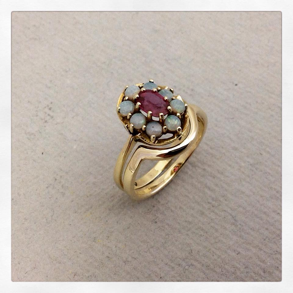 Bespoke contoured wedding band to fit vintage Ruby and Opal engagement ring