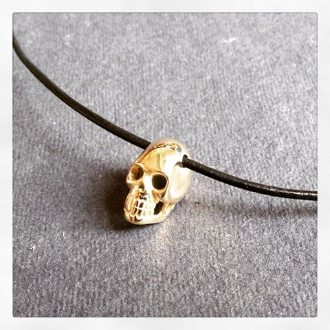 Gold skull pendant remade from an old gold ring