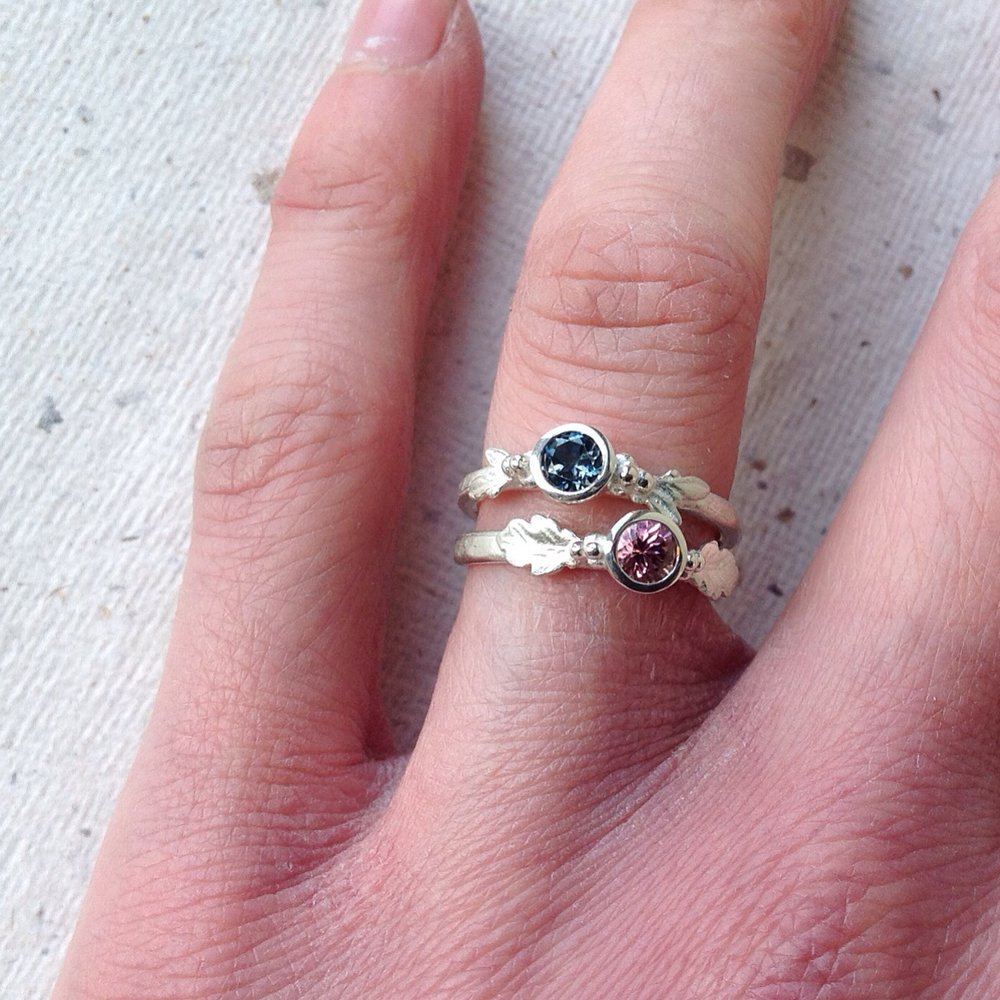 Pink Tourmaline & Oak Leaf Silver Ring | October Birthstone Ring ...