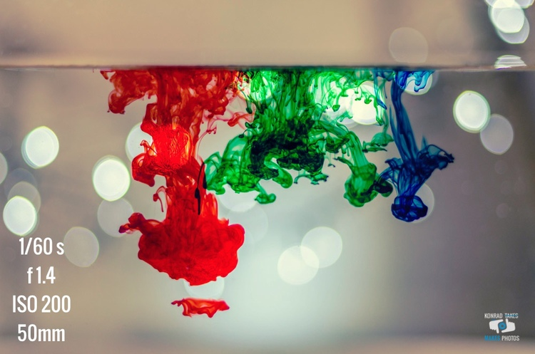 Photo Breakdown : Food Coloring in Water with Bokeh Lights — Konrad ...