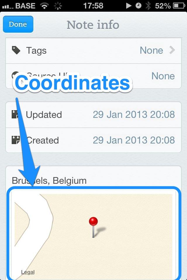 Evernote iOS Coordinates