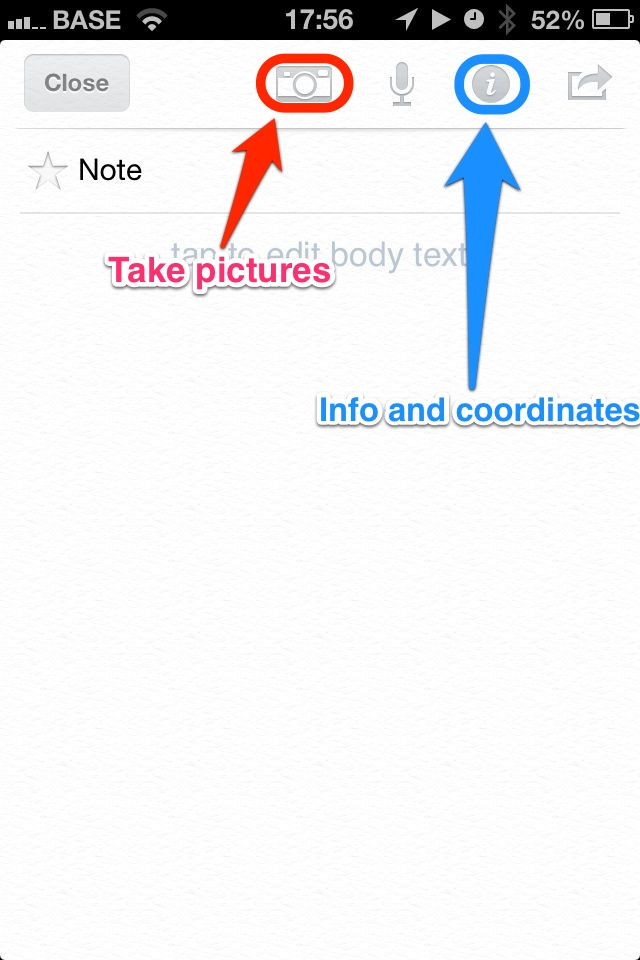 Evernote iOS for Photo Shoot Locations