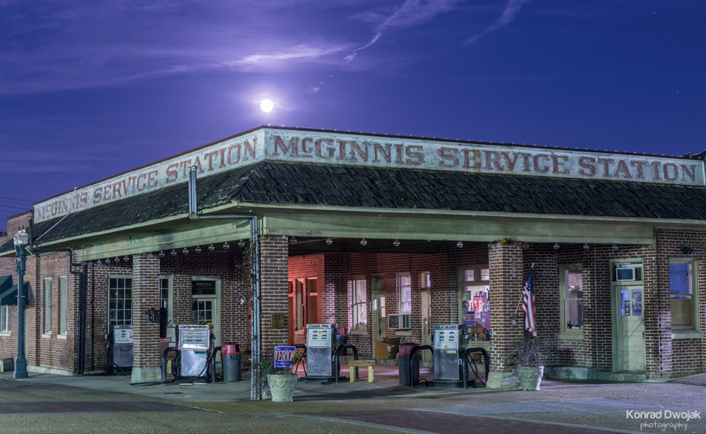 McGinnis Services Station at night - Collierville Historic Town Square
