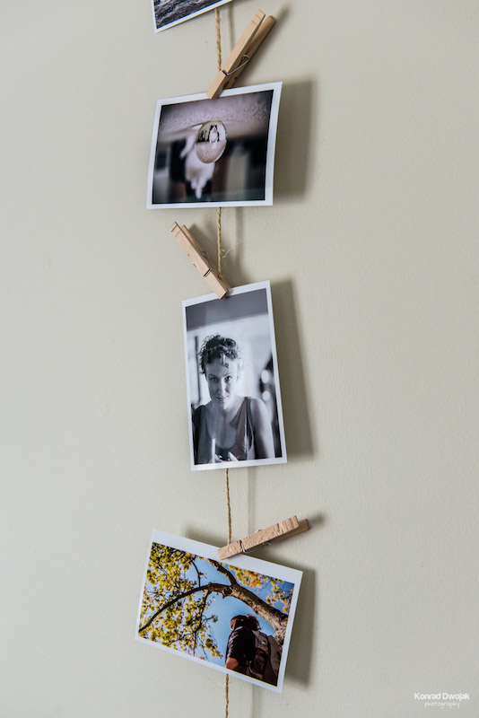 DIY Photo Rope - use clothespins to attach the picture to the rope