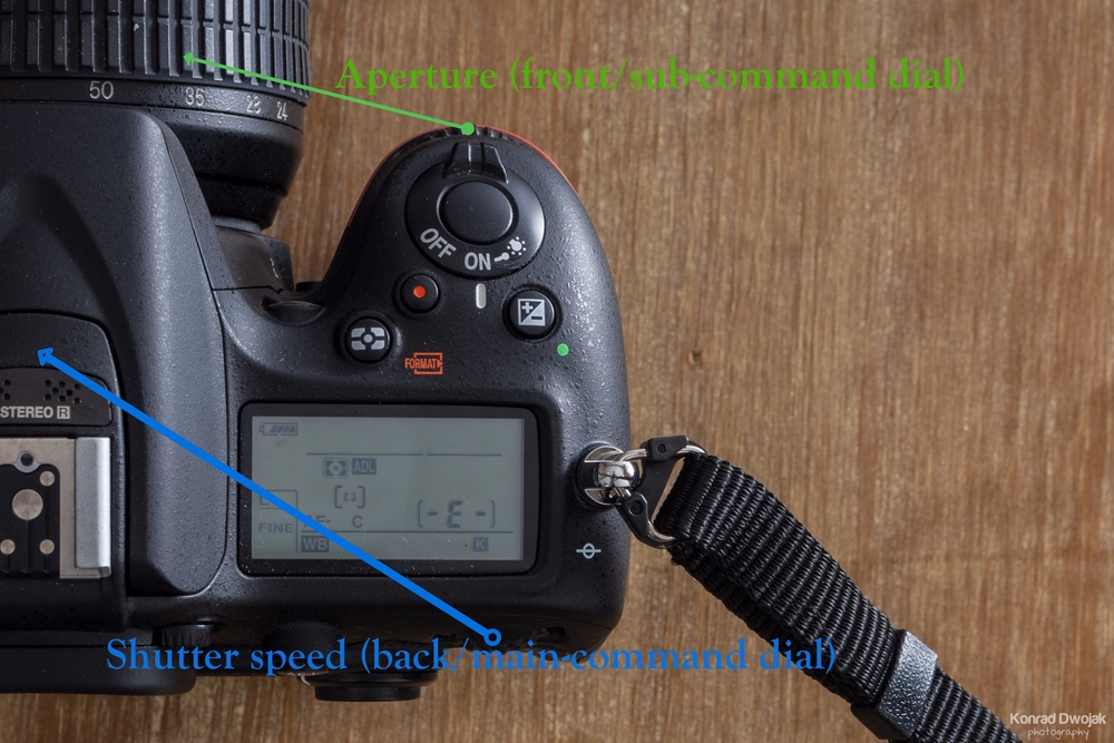 Which command dial does what when shooting manual
