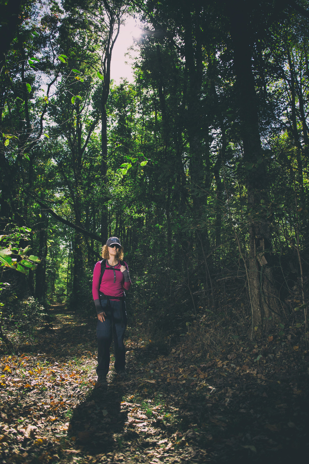 A hiker at Fort Pillow State Park, TN in Autumn