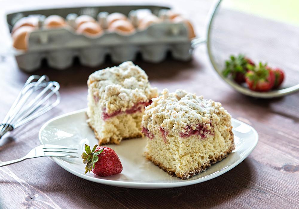 Homemade Yeast Cake with raspberries