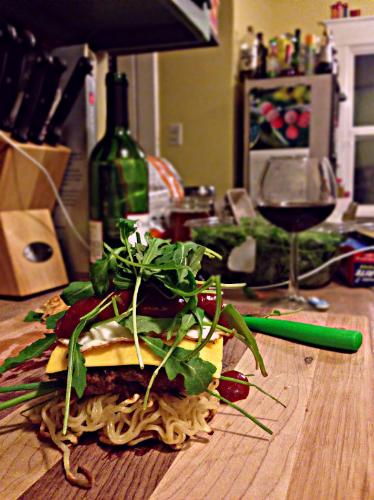 Assemble your ramen burger