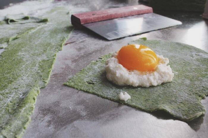 ricotta, nutmeg, and an egg yolk