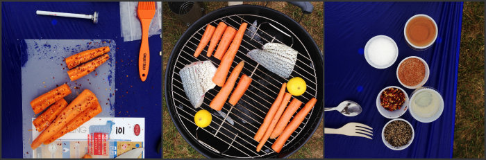 Pieces of the grilling demo: carrots, bass, and lamb.
