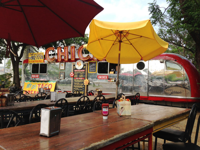 Food trucks line the street on South Congress.