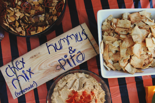 I made homemade Chex Mix and homemade hummus, served with pita, for our guests. Easy snack foods!