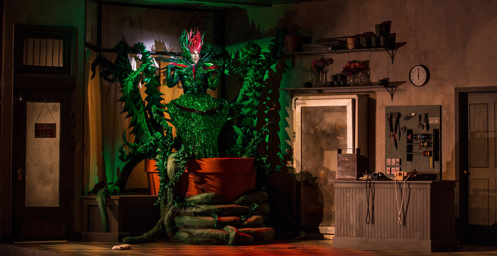 The shop with Audrey II in Act 2