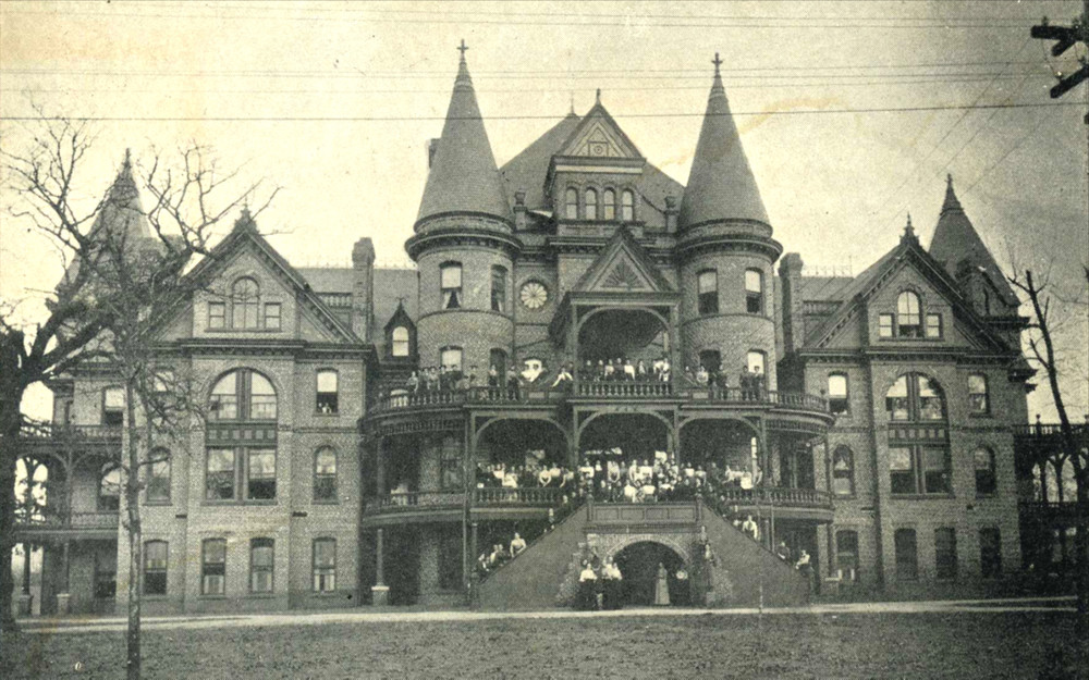 A true lost treasure. The Women's Baptist College [now Meredith College] which stood at the corner of Edenton & Blount Streets, Raleigh, NC circa 1907 - later the Mansion Park Hotel. Purchased in 1951 by the State of North Carolina and demolished in 1967 for a parking lot. Today the site remains a parking lot.
