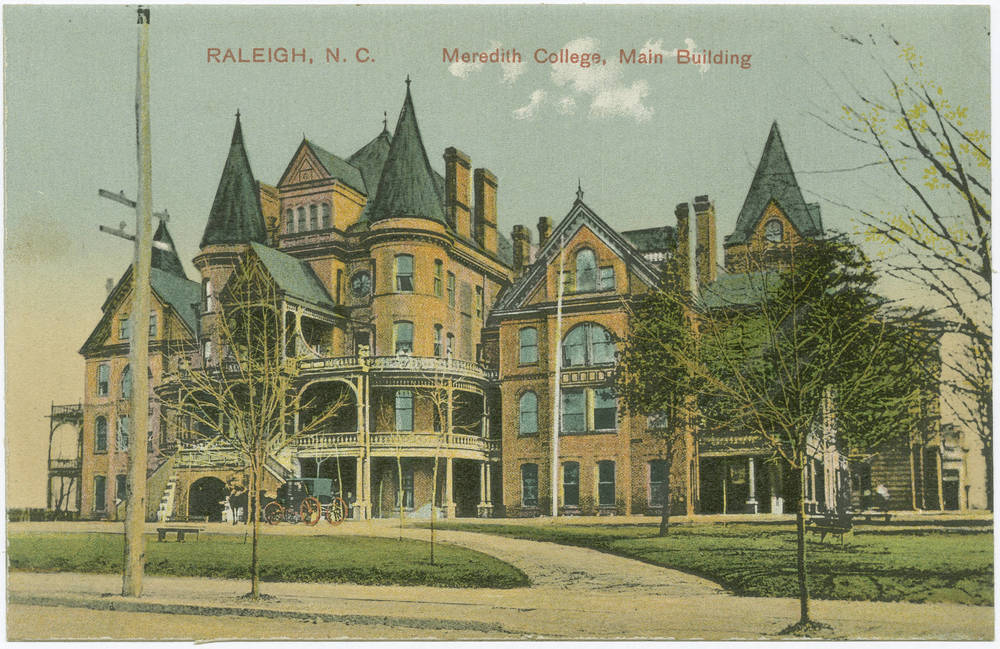"""Raleigh, N.C. Meredith College, Main Building"" in Durwood Barbour Collection of North Carolina Postcards (P077), North Carolina Collection Photographic Archives, Wilson Library, UNC-Chapel Hill"
