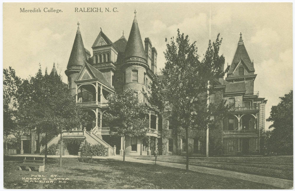 """Meredith College, Raleigh, N.C."" in Durwood Barbour Collection of North Carolina Postcards (P077), North Carolina Collection Photographic Archives, Wilson Library, UNC-Chapel Hill"