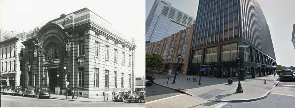 Then and now - Fayetteville Street and Davie Street, Raleigh, NC