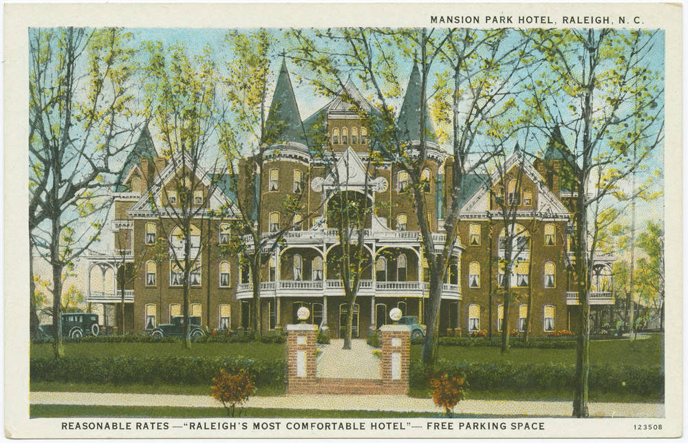 Mansion Park Hotel, Raleigh, N.C. in Durwood Barbour Collection of North Carolina Postcards (P077), North Carolina Collection Photographic Archives, Wilson Library, UNC-Chapel Hill