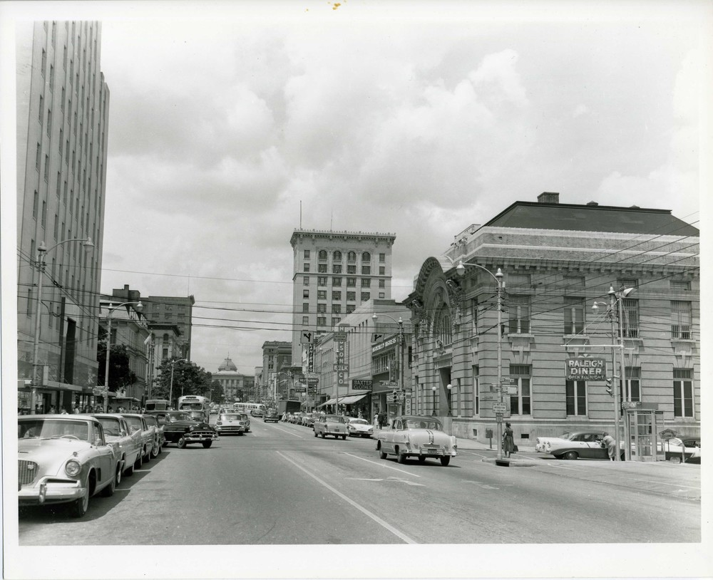 300 block of Fayetteville Street looking north to the State Capitol - Raleigh City Hall on the right. Photo ca. 1955