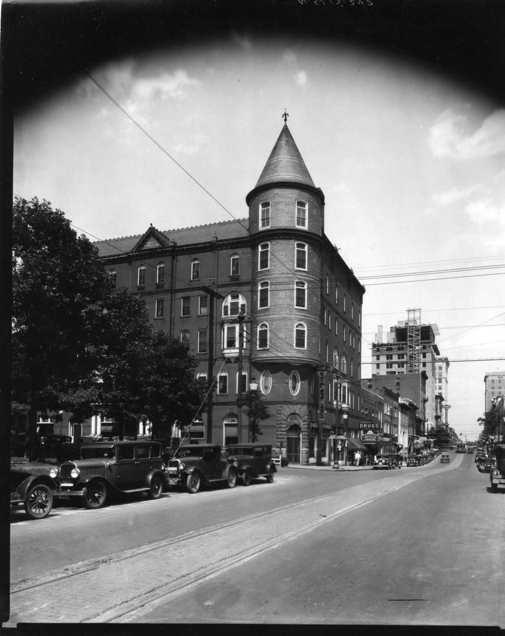 Park Hotel 2, renamed Hotel Raleigh, c. 1920-corner W. Martin and S. McDowell St. - Photo: State Archives of North Carolina