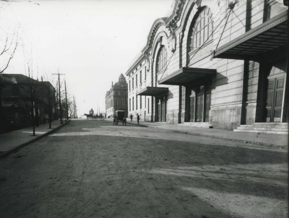 Raleigh Auditorium and City Hall. City Hall is at the far end of the block. Photo ca. 1900