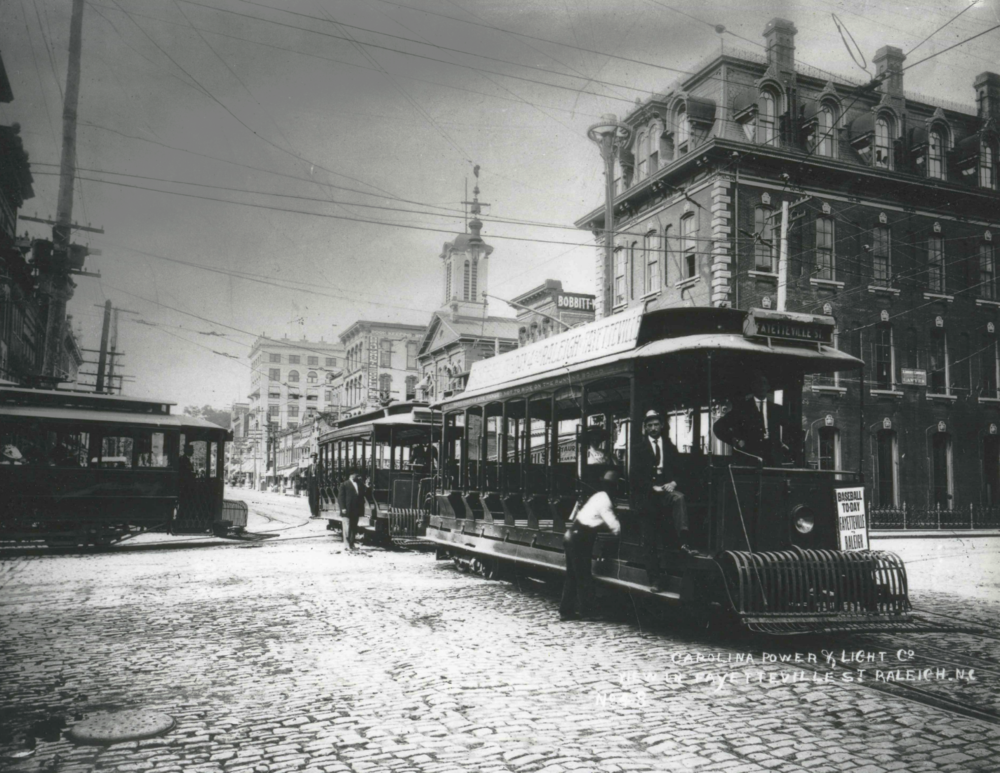 Carolina Power & Light Trolley, early 1900's-corner E. Martin Street & Fayetteville Street - Photo: State Archives of North Carolina